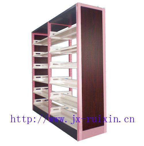 RX-ST02双柱双面钢包木书架